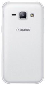 Das Galaxy J1 in weiß von der Rückseite