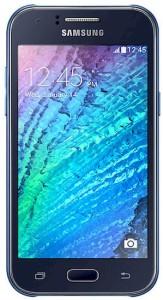 Das Galaxy J1 in blau von der Vorderseite