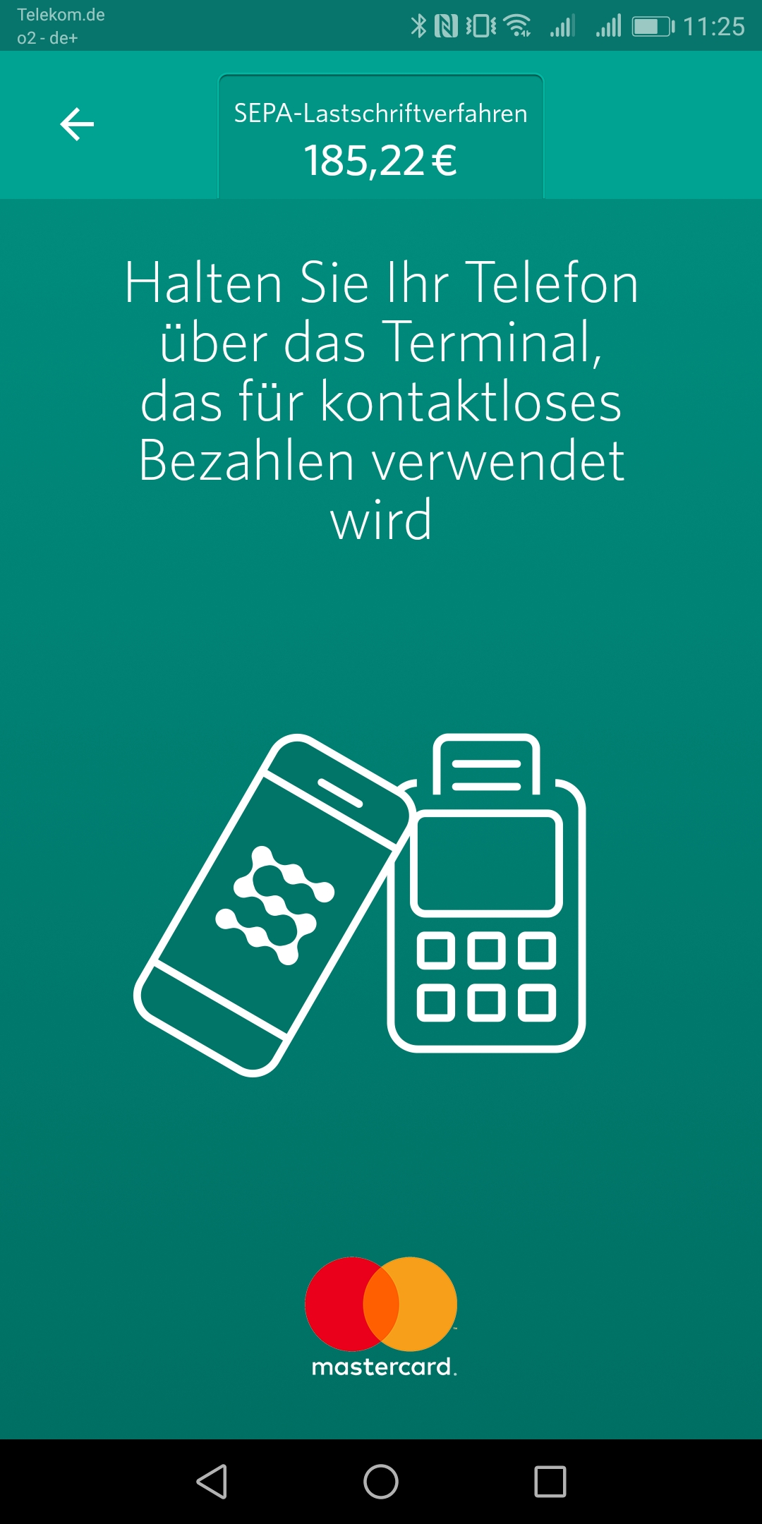 Screenshot Zahlungspanel SEQR APP